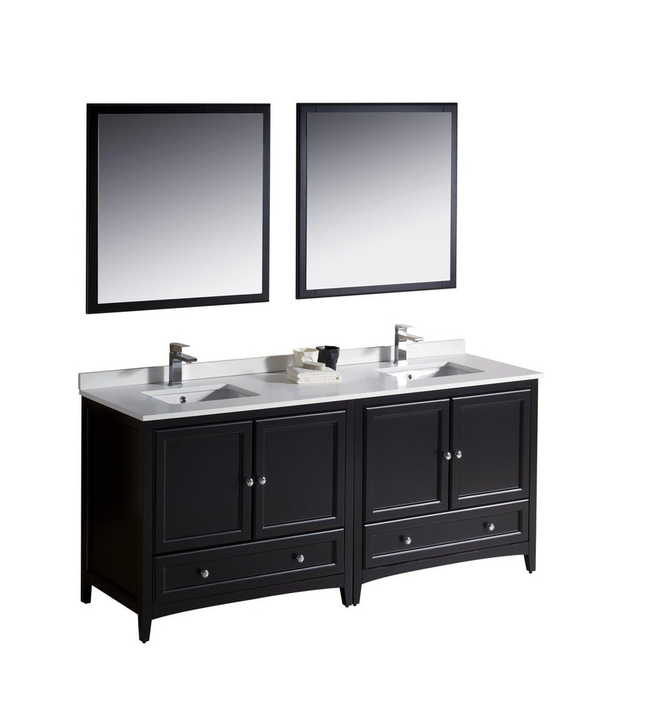 "Fresca Oxford 72"" Double Sink Vanity FVN20-3636ES-FFT1030BN"