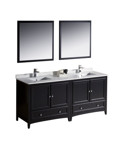"Image of Fresca Oxford 72"" Double Sink Vanity FVN20-3636ES-FFT1030BN"