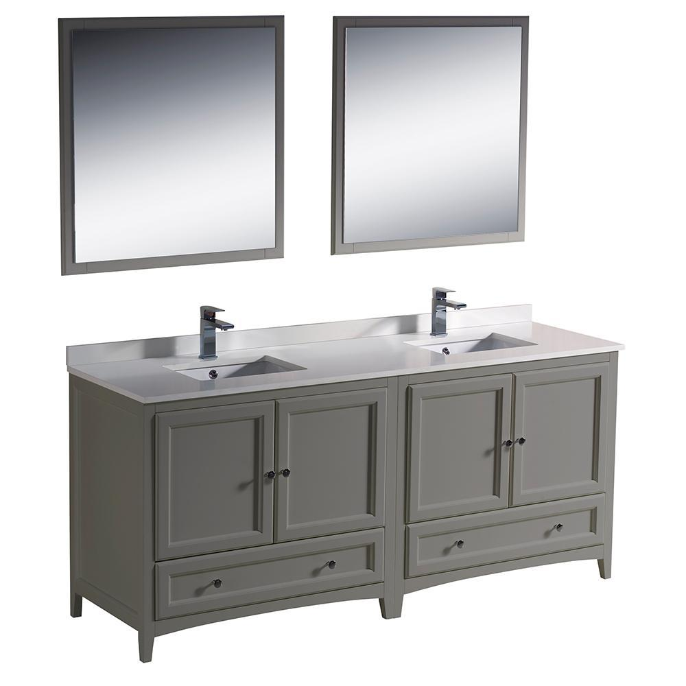 "Fresca Oxford 72"" Double Sink Vanity FVN20-3636GR-FFT1030BN"