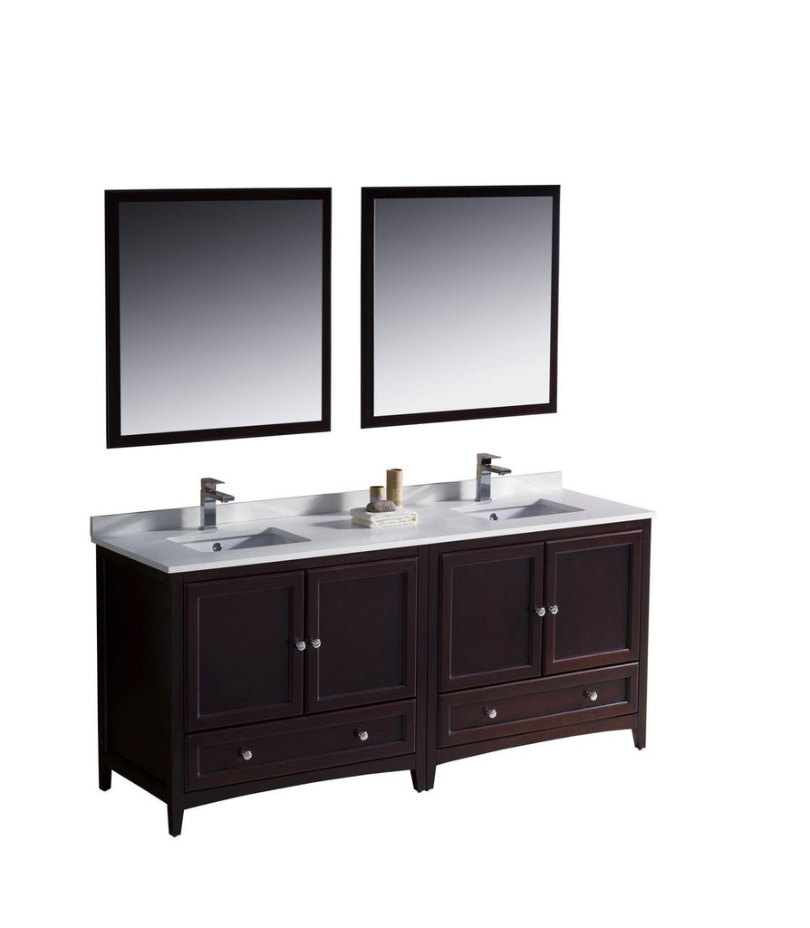 "Fresca Oxford 72"" Double Sink Vanity FVN20-3636MH-FFT1030BN"