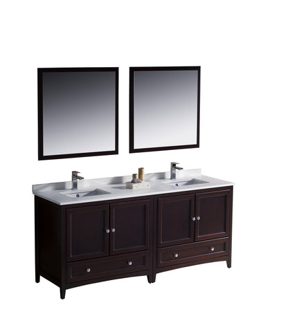 "Image of Fresca Oxford 72"" Double Sink Vanity FVN20-3636MH-FFT1030BN"