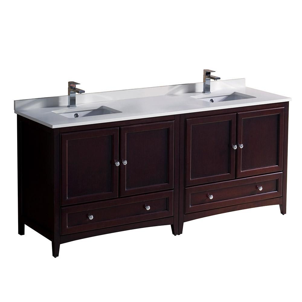 "Fresca Oxford 72"" Mahogany Traditional Double Sink Bathroom Cabinets FCB20-3636MH-CWH-U"