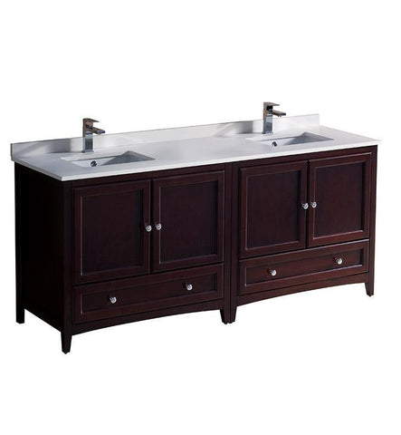 "Image of Fresca Oxford 72"" Mahogany Traditional Double Sink Bathroom Cabinets FCB20-3636MH-CWH-U"