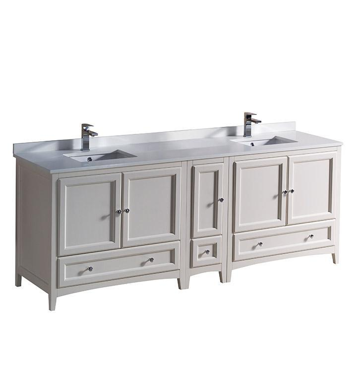 "Fresca Oxford 84"" Antique White Traditional Double Sink Bathroom Cabinets FCB20-361236AW-CWH-U"
