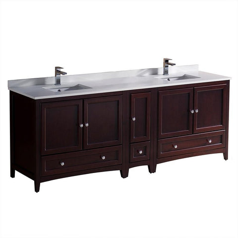 "Image of Fresca Oxford 84"" Mahogany Traditional Double Sink Bathroom Cabinets FCB20-361236MH-CWH-U"