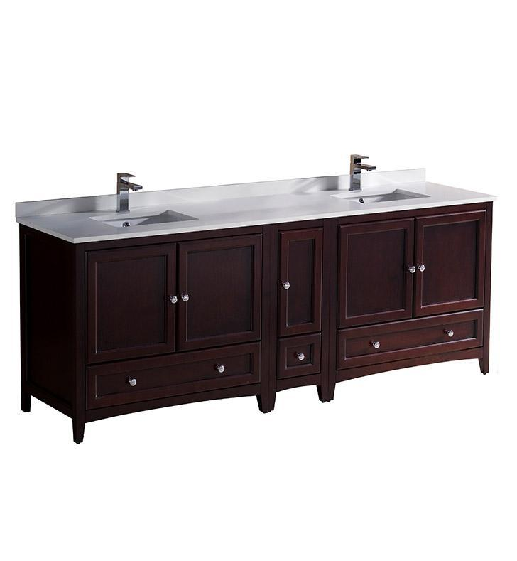 "Fresca Oxford 84"" Mahogany Traditional Double Sink Bathroom Cabinets FCB20-361236MH-CWH-U"