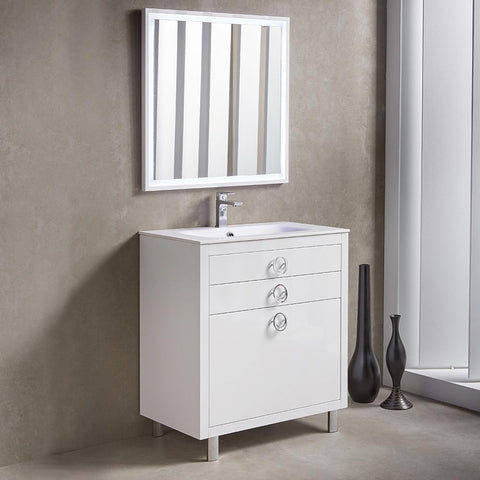 "Image of Fresca Platinum Due 32"" Glossy White Bathroom Vanity FPVN7832WH-FFT1030BN"