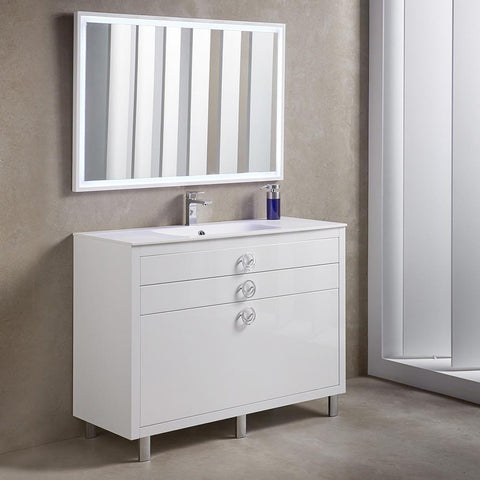 "Image of Fresca Platinum Due 48"" Glossy White Bathroom Vanity FPVN7848WH-FFT1030BN"
