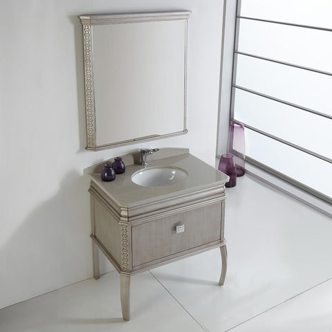 "Image of Fresca Platinum London 32"" Antique Silver Bathroom Vanity FPVN7524SA-FFT1030BN"