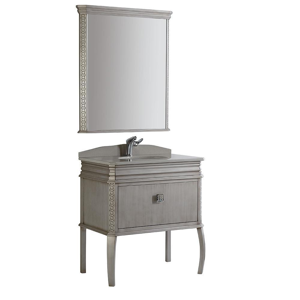"Fresca Platinum London 32"" Antique Silver Bathroom Vanity FPVN7524SA-FFT1030BN"