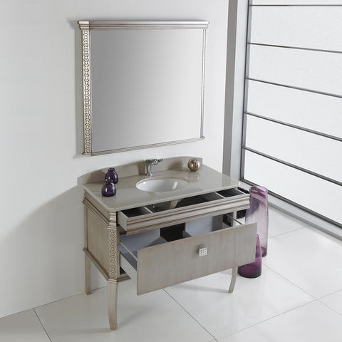 "Image of Fresca Platinum London 40"" Antique Silver Bathroom Vanity FPVN7526SA-FFT1030BN"