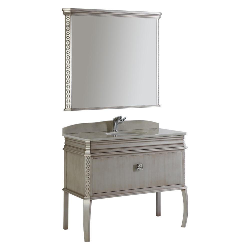 "Fresca Platinum London 40"" Antique Silver Bathroom Vanity FPVN7526SA-FFT1030BN"