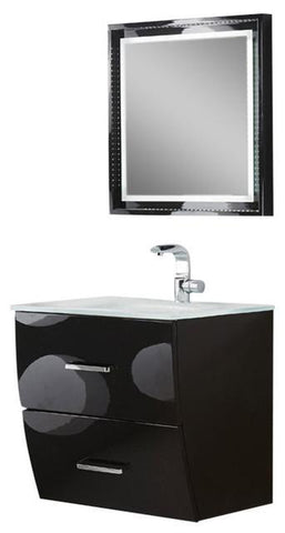 "Image of Fresca Platinum Wave 24"" Glossy Black Modern Bathroom Vanity FPVN7624BL-FFT1030BN"