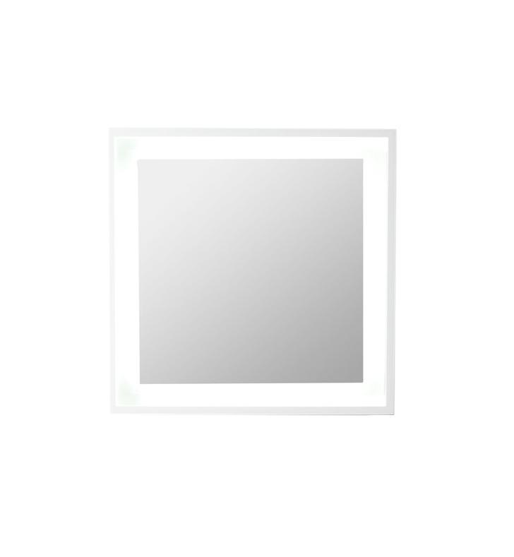 "Fresca Platinum Wave 24"" Glossy White Bathroom Mirror w/ LED Lighting FPMR7562WH"