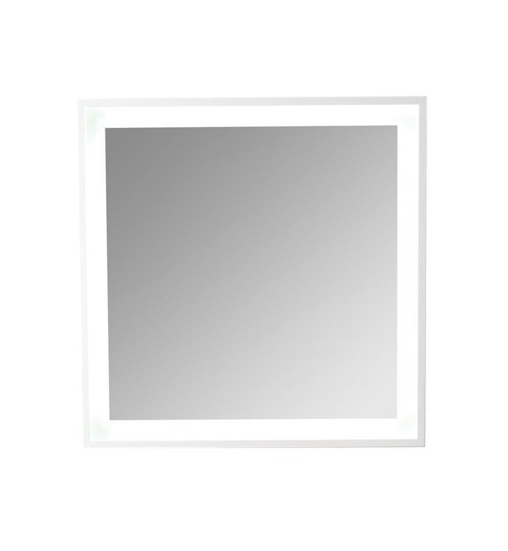 "Fresca Platinum Wave 32"" Glossy White Bathroom Mirror w/ LED Lighting FPMR7564WH"