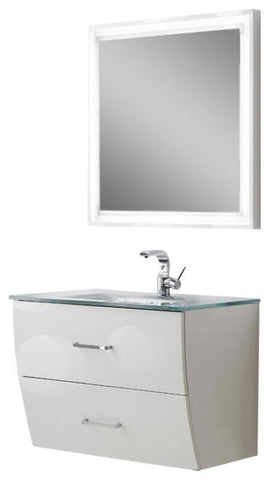 "Image of Fresca Platinum Wave 32"" Glossy White Modern Bathroom Vanity FPVN7630WH-FFT1030BN"