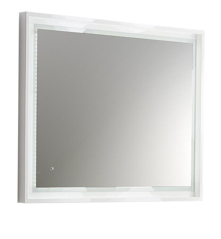 "Fresca Platinum Wave 40"" Glossy White Bathroom Mirror w/ LED Lighting FPMR7640WH"