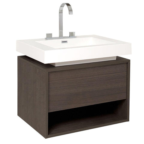 "Image of Fresca Potenza 28"" Gray Oak Modern Bathroom Cabinet w/ Vessel Sink FCB8070GO-I"