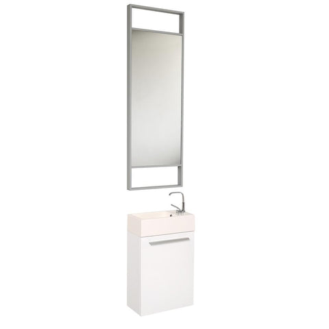 "Image of Fresca Pulito 16"" Small Bathroom Vanity FVN8002WH-FFT1030BN"