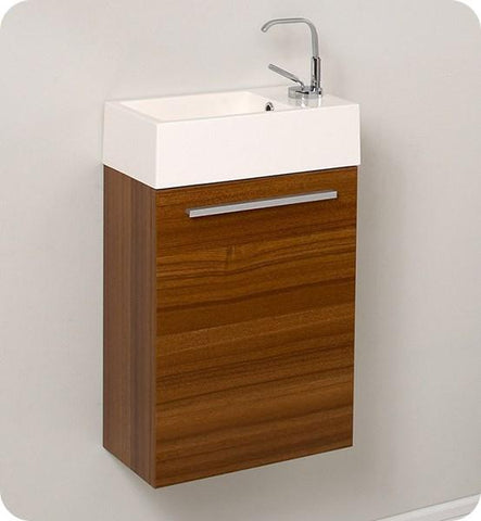 "Image of Fresca Pulito 16"" Small Teak Modern Bathroom Vanity w/ Integrated Sink 