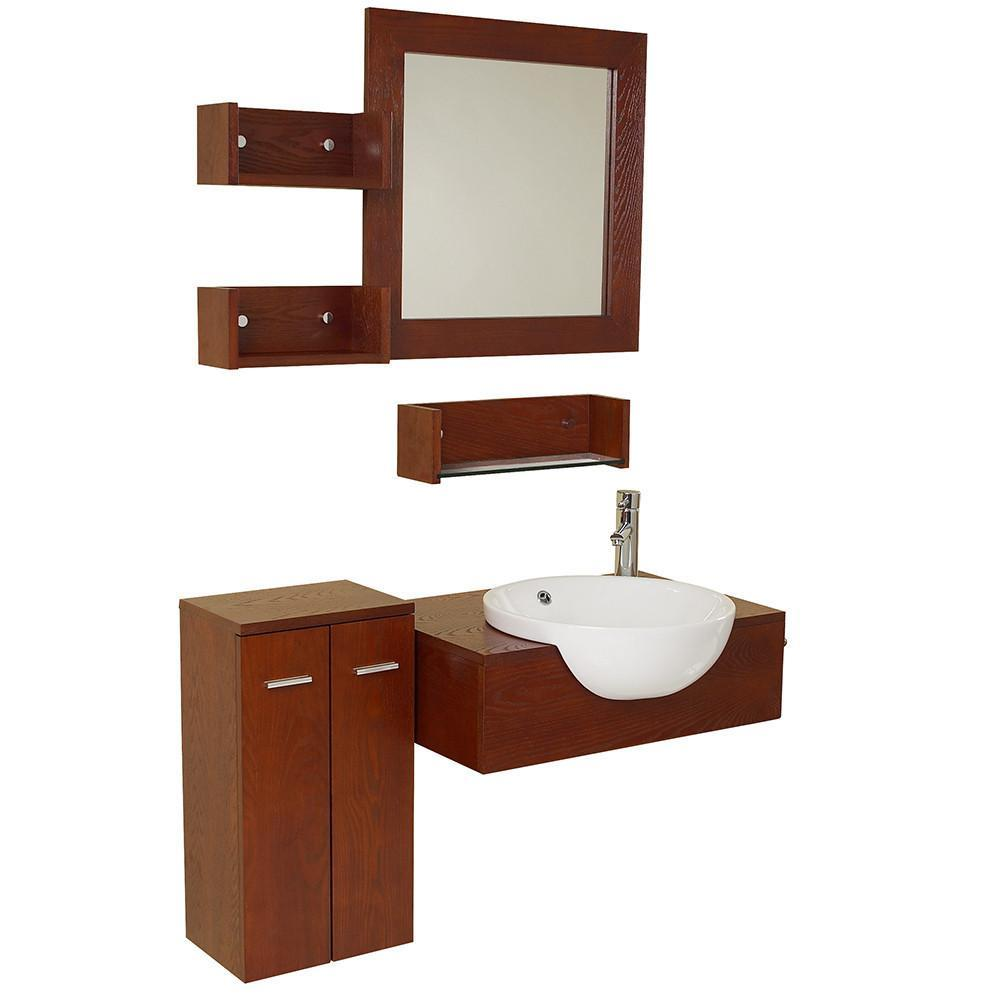 "Fresca Stile 26"" Single Bathroom Vanity w/ Mirror FVN3520-FFT1030BN"