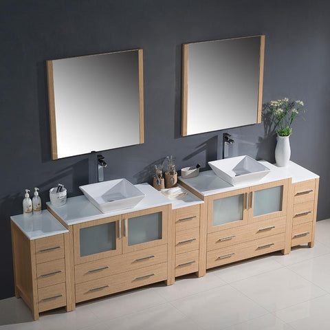 "Image of Fresca Torino 108"" Double Integrated Sink Vanity FVN62-108ES-UNS-FFT1030BN"