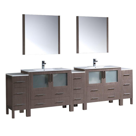 "Image of Fresca Torino 108"" Double Integrated Sink Vanity FVN62-108GO-UNS-FFT1030BN"