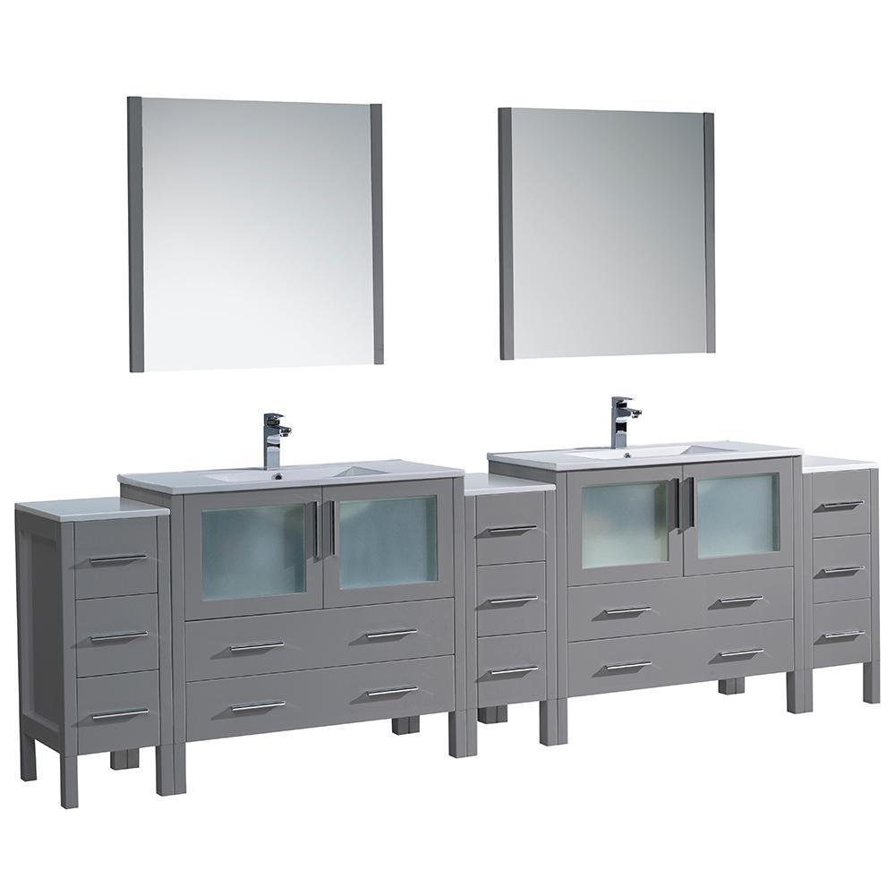 "Fresca Torino 108"" Double Integrated Sink Vanity FVN62-108GR-UNS-FFT1030BN"