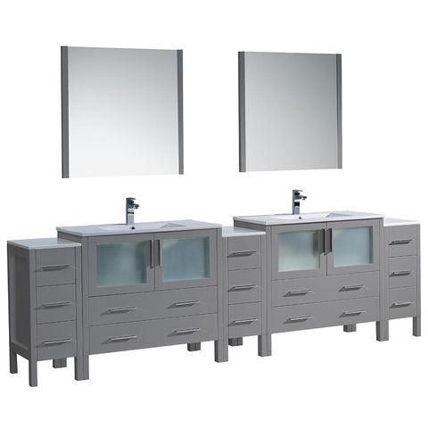 "Image of Fresca Torino 108"" Double Integrated Sink Vanity FVN62-108GR-UNS-FFT1030BN"