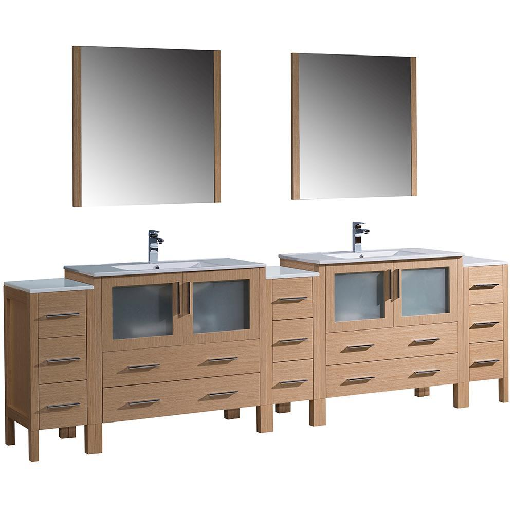 "Fresca Torino 108"" Double Integrated Sink Vanity FVN62-108LO-UNS-FFT1030BN"