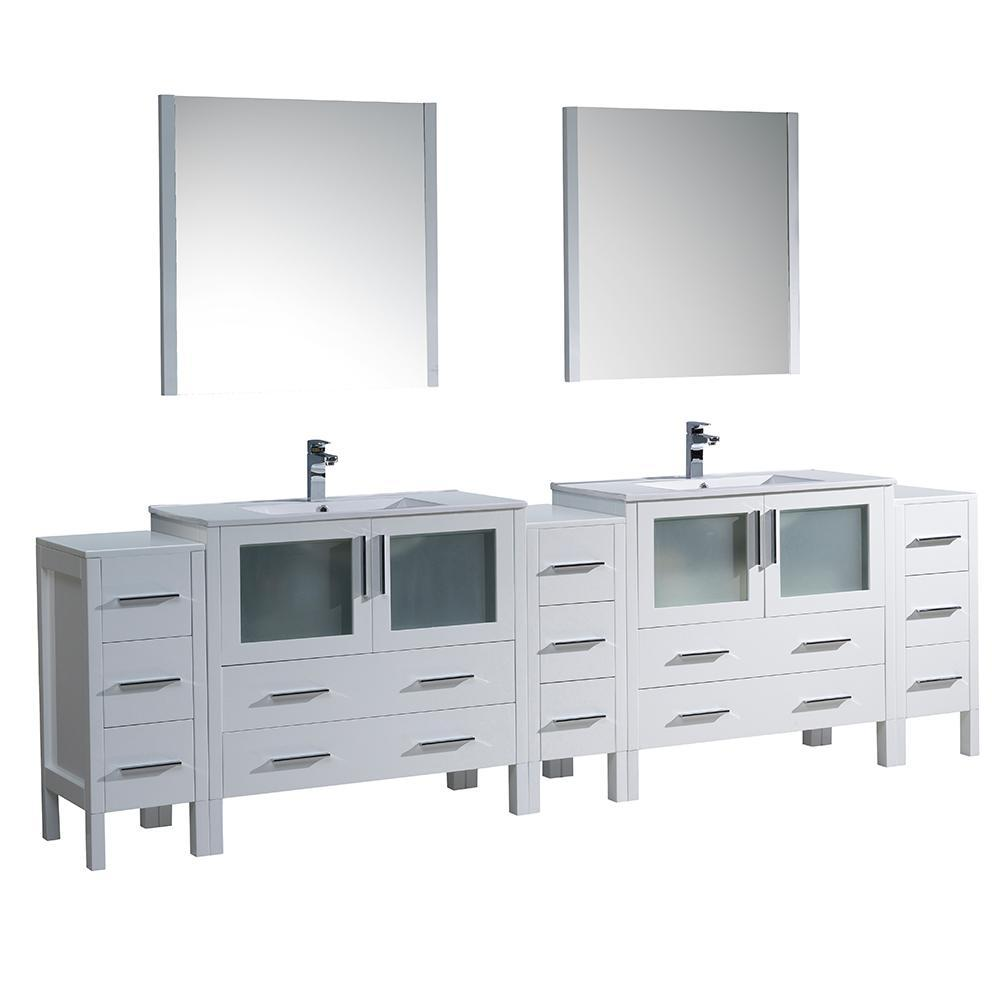 "Fresca Torino 108"" Double Integrated Sink Vanity FVN62-108WH-UNS-FFT1030BN"