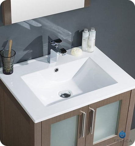 "Image of Fresca Torino 24"" Gray Oak Modern Bathroom Vanity w/ Integrated Sink 