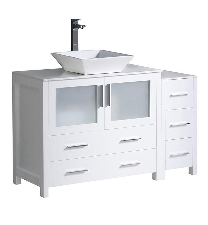 "Fresca Torino 48"" White Modern Bathroom Cabinets w/ Top & Vessel Sink FCB62-3612WH-CWH-V"