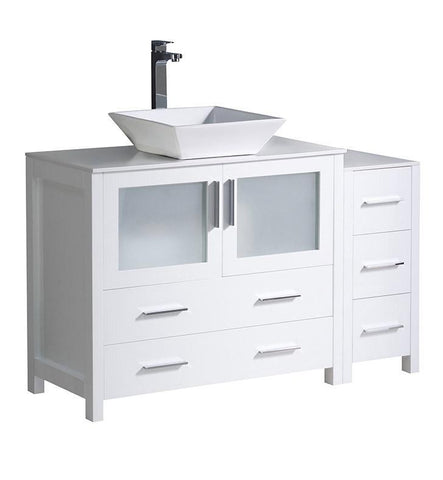 "Image of Fresca Torino 48"" White Modern Bathroom Cabinets w/ Top & Vessel Sink FCB62-3612WH-CWH-V"
