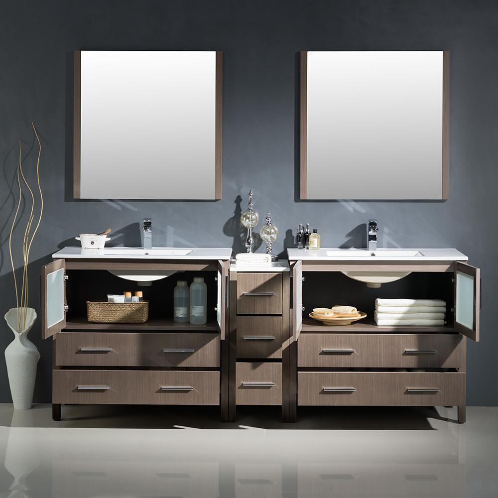 "Fresca Torino 84"" Gray Oak Modern Double Sink Bathroom Vanity w/ Side Cabinet & Integrated Sinks FVN62-361236GO-UNS-FFT1030BN"