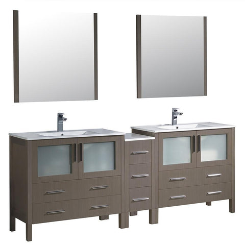 "Image of Fresca Torino 84"" Gray Oak Modern Double Sink Bathroom Vanity w/ Side Cabinet & Integrated Sinks FVN62-361236GO-UNS-FFT1030BN"