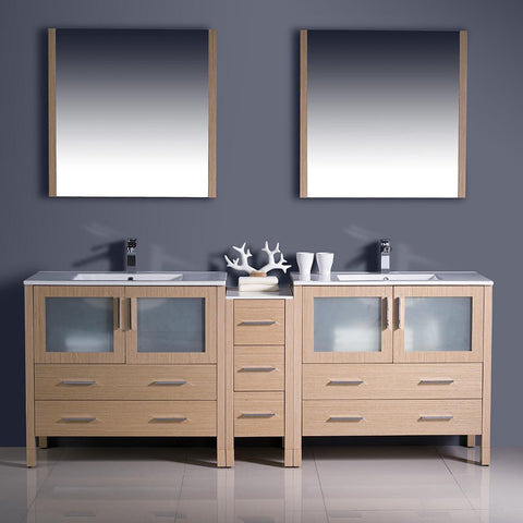 "Image of Fresca Torino 84"" Light Oak Modern Double Sink Bathroom Vanity w/ Side Cabinet & Integrated Sinks FVN62-361236LO-UNS-FFT1030BN"