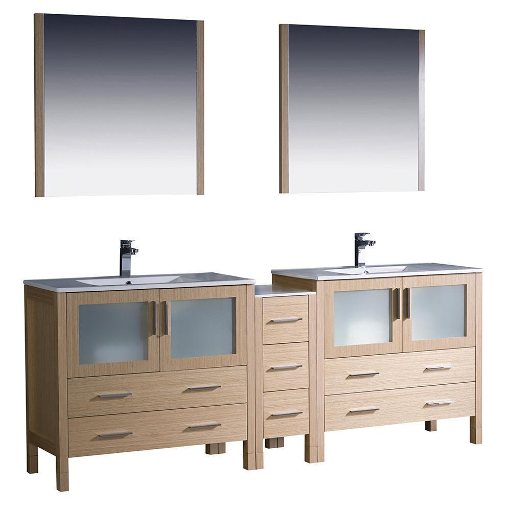 "Fresca Torino 84"" Light Oak Modern Double Sink Bathroom Vanity w/ Side Cabinet & Integrated Sinks FVN62-361236LO-UNS-FFT1030BN"