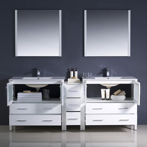 "Image of Fresca Torino 84"" White Modern Double Sink Bathroom Vanity w/ Side Cabinet & Integrated Sinks FVN62-361236WH-UNS-FFT1030BN"