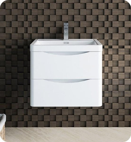 "Image of Fresca Tuscany 24"" Glossy White Wall Hung Modern Bathroom Cabinet w/ Integrated Sink 