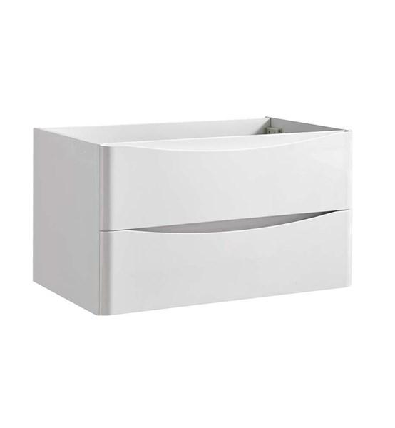 "Fresca Tuscany 32"" Glossy White Wall Hung Modern Bathroom Cabinet 