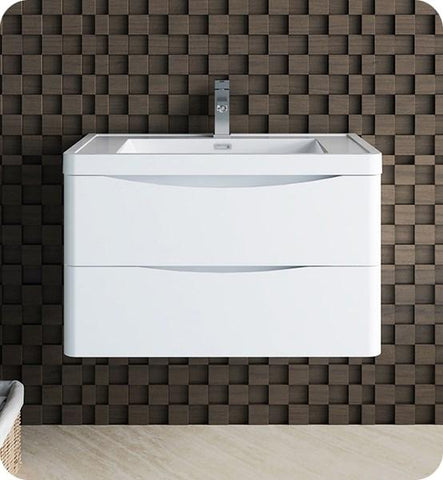 "Image of Fresca Tuscany 32"" Glossy White Wall Hung Modern Bathroom Cabinet w/ Integrated Sink 