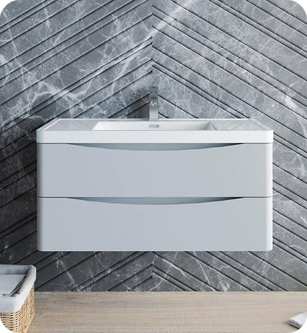 "Image of Fresca Tuscany 40"" Glossy Gray Wall Hung Modern Bathroom Cabinet w/ Integrated Sink 