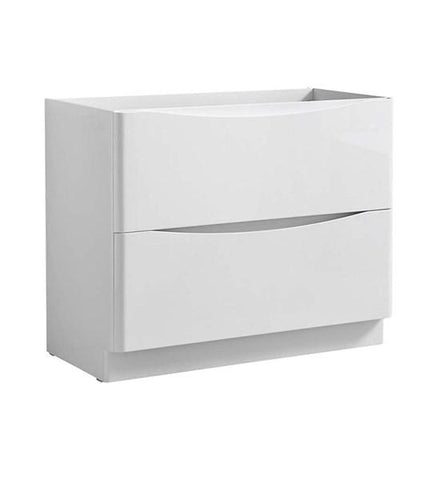"Image of Fresca Tuscany 40"" Glossy White Free Standing Modern Bathroom Cabinet 