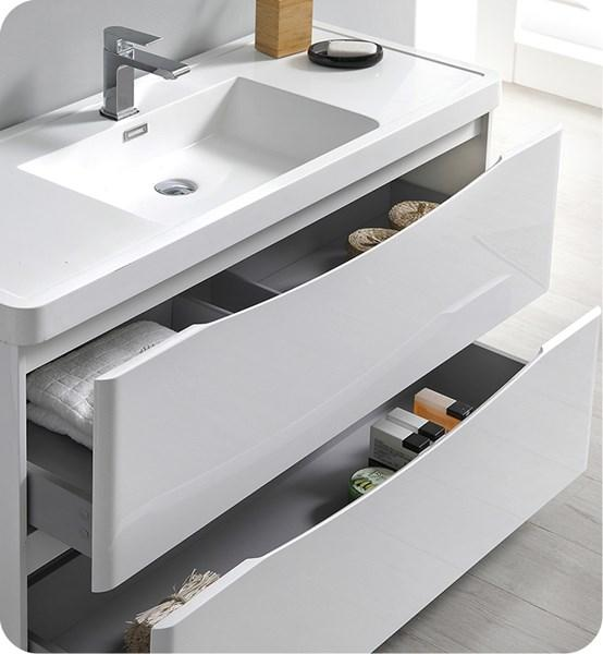 "Fresca Tuscany 40"" Glossy White Free Standing Modern Bathroom Cabinet w/ Integrated Sink 