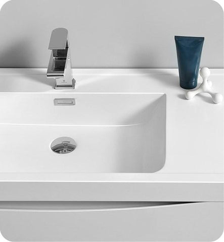 "Image of Fresca Tuscany 40"" Glossy White Free Standing Modern Bathroom Cabinet w/ Integrated Sink 