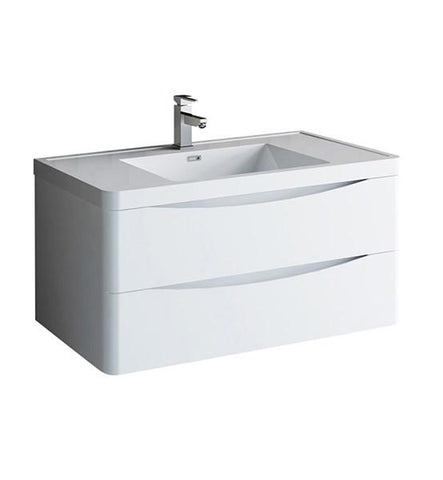 "Image of Fresca Tuscany 40"" Glossy White Wall Hung Modern Bathroom Cabinet w/ Integrated Sink 