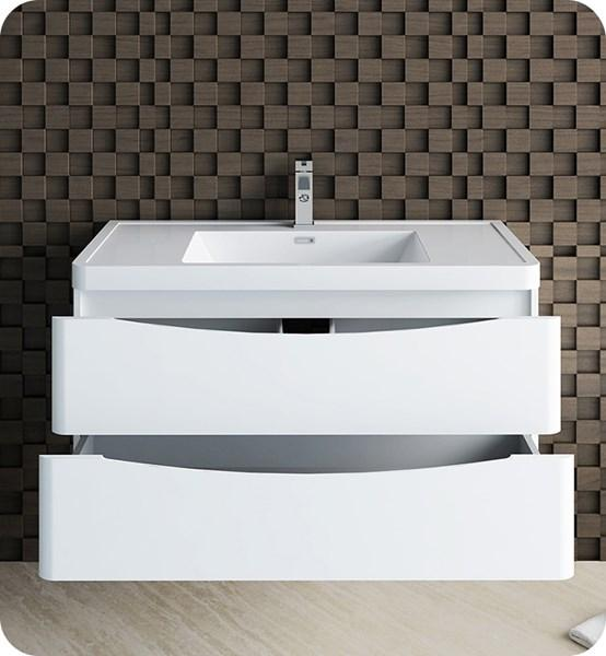 "Fresca Tuscany 40"" Glossy White Wall Hung Modern Bathroom Cabinet w/ Integrated Sink 