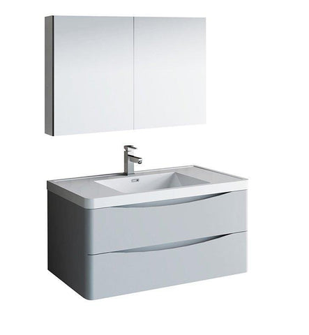 "Image of Fresca Tuscany 40"" Gray Bath Bowl Vessel Drain Vanity Set w/ Cabinet & Faucet FVN9040GRG-FFT1030BN"
