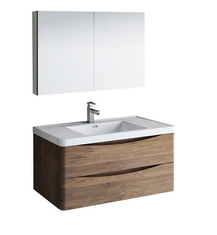 "Image of Fresca Tuscany 40"" Rosewood Bath Bowl Vessel Vanity Set w/ Cabinet & Faucet FVN9040RW-FFT1030BN"